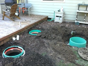 Risers installed on the septic tank